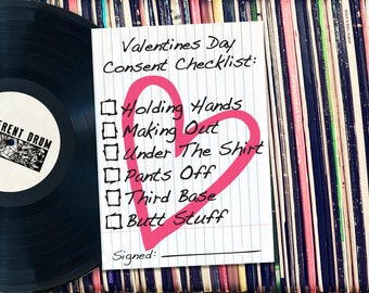 "Valentines Consent Checklist Printable 5x7"" Card. INSTANT DOWNLOAD."