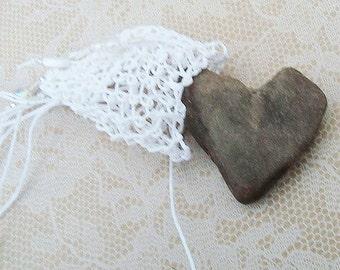 CUSTOM Bohemian Beach Wedding Necklace, Chakra Bag, Treasure Pouch Necklace, White, Beachcomber