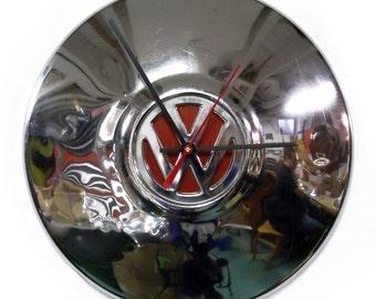 VW Bug Wall Clock - Volkswagen Beetle Hubcap Clock - Volkswagon - Chrome Clock with Red Center
