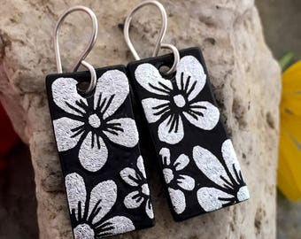 Dichroic Glass Earrings - Hand Etched Flowers Silver & Black Glass Art