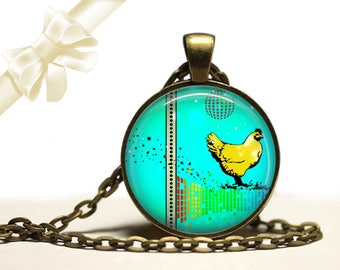 Disco Chicken Necklace brass Pendant Necklace Free Shipping Gifts for her