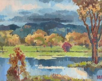 Impressionist art. Original painting. Gouache on paper. 47 x 34 cm.