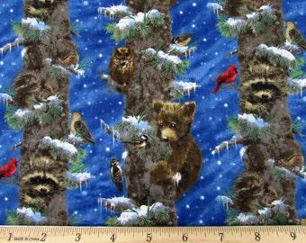 Bears Raccoon Owl Climbing Tree Fabric From Giordino Studios By the Yard
