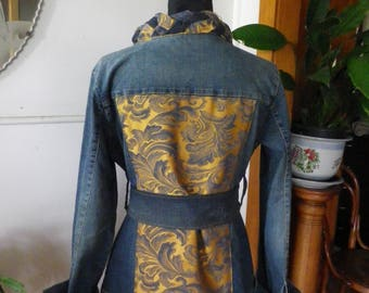 Longline belted denim jacket with gold satin trim