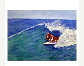25% off Basset Hound Surfing Dog Art Print