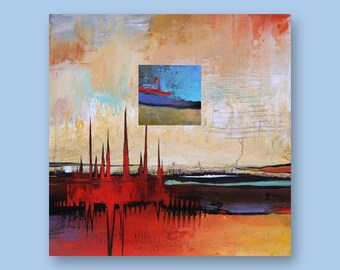 "Original Abstract Art Painting  •  12"" x  12"" Contemporary Art  • FLOATING SQUARE #12  •  Oil Painting"