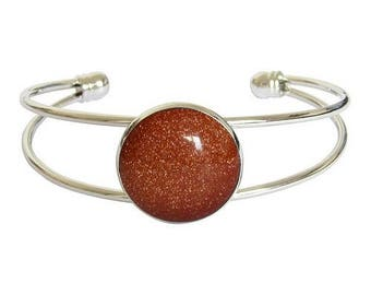 Bracelet silver plated - synthetic Sunstone or goldstone cabochon