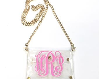 Monogrammed/Personalized Clear Stadium  Game Day Clutch/Cross Body Purse/Bag/Tote.