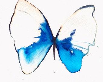 white, azure and light ultramarine blue butterfly. original watercolour painting