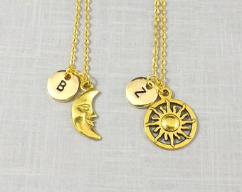 Gold Sun and Moon Necklaces, Best Friend Necklace, Personalized Initial, Couples Jewelry, Couples Necklace, Long Distance, Friendship