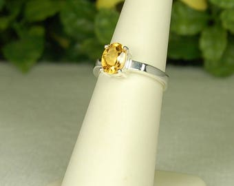 Citrine Ring, Size 6, Honey Gold Color, Natural Citrine, November Birthstone, Sterling Silver, Golden Citrine Ring