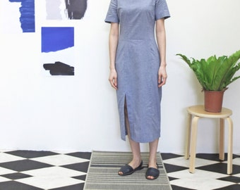 reinterpreted chambray quipao chinese dress with slits details
