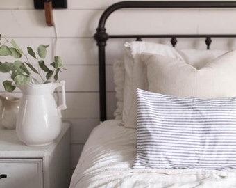 Ticking Stripe Lumbar Pillow Cover, Available in Blue, Tan, and Black