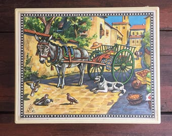 German Block Puzzle with Original Carrying Case / 6 Different Scenes / Made in West Germany
