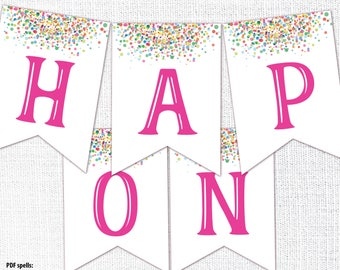 Funfetti Confetti Pennant Banner, Printable, Rainbow Confetti Digital File, 1st birthday, one, high chair banner, instant download, hot pink