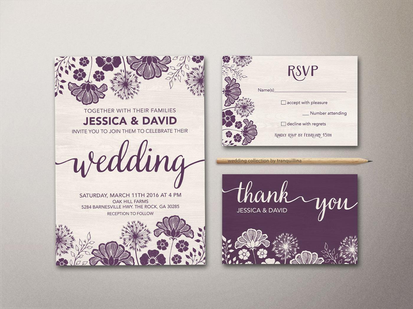 Purple Wedding Invitation Printable Floral Wedding Invitation