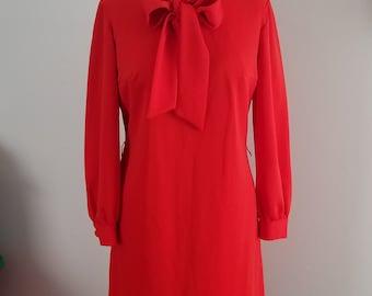 Vibrant Orange Early 70s Dress - L 10 (Vtg 14)