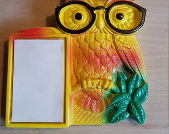 Vintage 70's ceramic owl notepad  - PRICE INCLUDES SHIPPING