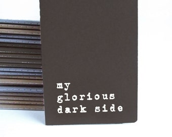 Valentine's Day Dark Side Notebook; Black Handprinted MOLESKINE® journal; Boyfriend gift; Girlfriend gift; Indie Goth Metal Rock