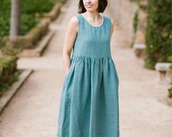 Mint Dress, Linen Dress, Summer Dress, Women Linen Dress, Plus Size Linen Dress, Oversized Dress, Sleeveless Dress / Smock NS Mint