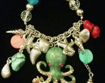 After Life Accessories Repurposed Stretch Charm Bracelet Blue Octopus