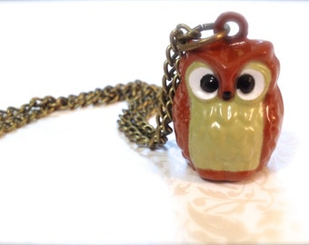Cute Brown Owl Jingle Bell Necklace. Woodland Bird. Nature. Bell Jewelry. Vintage Style Brass. Wise Owl. Tan. Brown. Kawaii Kitsch. Fun.