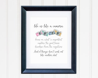 Life Is Like A Camera Quote Printable Photography Quote Prints Camera Wall Art Photography Decor Inspirational Wall Art Motivational Quotes