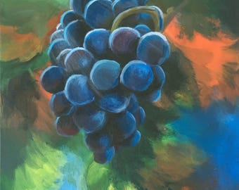 Grapes in Autumn by Lenka Zuckova - original acrylic painting on canvas