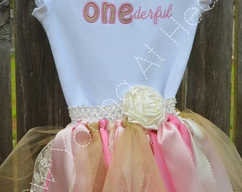 Little Miss ONEderful Birthday Shirt or Onesie/Satin, Lace and Tulle Tutu, Sizes 12 Months to Girls 3