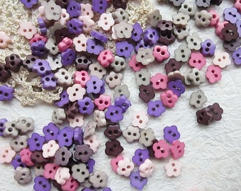 Tiny 2 hole flower button - 6 mm.  100 pcs assorted colors for making Barbie, Blythe and dolls clothes SET10