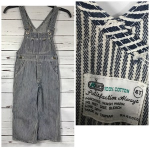 Boys sie 4T blue pinstripe overalls - vintage boys size 4 overalls - 70's  kmart overalls