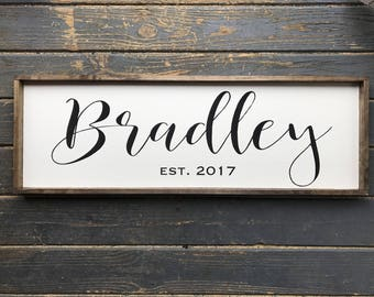 Family Name Sign. Last Name Sign. Wood Family Sign. Wedding Gift. Established sign.  Wood Framed Sign. Farmhouse Sign.