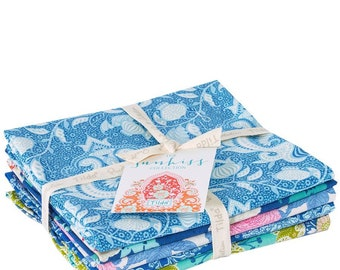 Free Shipping! TILDA Sunkiss Fabric Collection Fat Quarter Bundle of 5 Prints in Blue / Teal