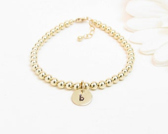 Small Gold Beaded Initial Bracelet for Newborn Infant Baby Little Girl - Personalized Gold Baby Bracelet - Gold Initial Monogram Bracelet