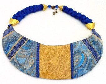 Best gift Bib necklace Blue necklace Polymer clay jewellry Unique jewelry Unusual bib necklace Polymer clay jewelry for women Gift for her