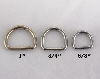 """1 """" , 3/4"""" and 5/8"""" Dog Collar Hardware, D-ring"""