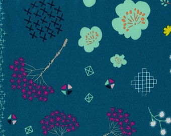 LAWN- Mochifloral Teal- Cotton and Steel, Mochi Collection, Cotton Lawn Fabric