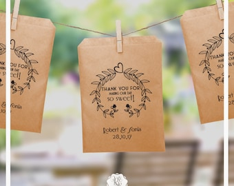 Set of 20 Wedding Favor Bags Wedding Favors Personalized Cookie Buffet Bags Candy Bar Bags Wedding Gift Idea Custom Wedding Favors Style 007