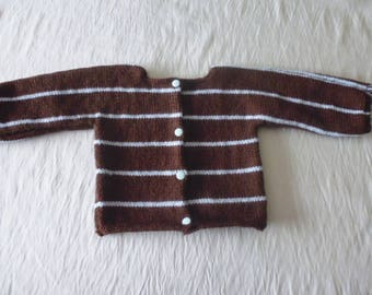 Baby vest/cardigan hand knitted Brown and blue 3 months.