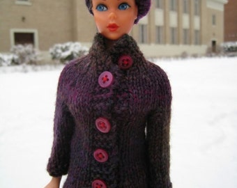 Barbie Knitting Pattern, High Collar Coat with Matching Beret Pattern