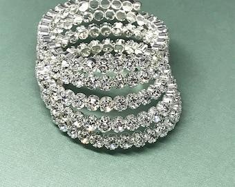 Crystal Cuff Bracelet, Bridal Bracelet, Rhinestone Bracelet, Bridal Cuff Bracelet, Wedding Crystal Cuff Bracelet, Silver Bracelet