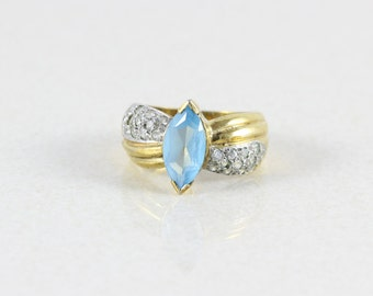 Gold over Sterling Silver Blue Topaz Ring Size 6