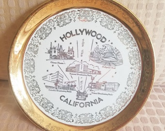 Vintage Gold Plate Hollywood California collectable souvenir 22 Karat