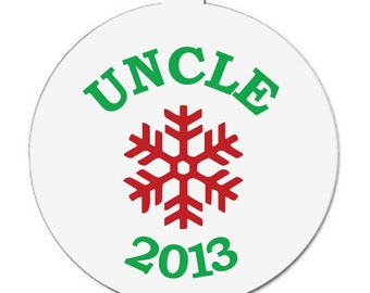 Customized uncle pregnancy announcement snowflake Christmas ornament CUPACO