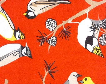 Tablecloth red black white yellow Birds Pine Tree Modern Scandinavian Design , napkins , table runner , curtains napkins , great GIFT