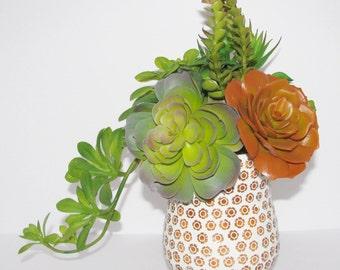 Faux Succulent Arrangement, Centerpiece, Floral Arrangement, Artificial Succulent Arrangement, Housewarming Gift, Unique Succulent Gift