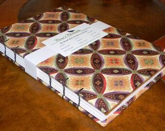 Medium Brown & Beige Geometric Asian Print Fabric Covered Coptic Stitch Bound Lined Journal 6x8 inch