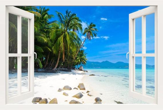 3d fenster wand aufkleber fenster nach palm beach wandsticker. Black Bedroom Furniture Sets. Home Design Ideas