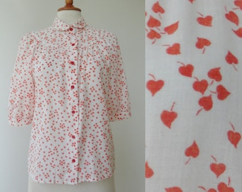 Lovely 80s White Vtg. Blouse With Peter Pan Collar & Red Leaf Print // Size 44