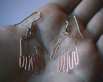 Wire Hands Earrings - Unique Handmade Various Colors Wire Dangly Earrings - Human Hands